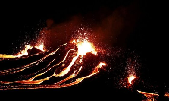 Incredible drone footage shows an erupting volcano in Iceland