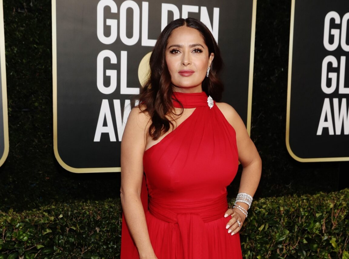 Salma Hayek leaves dinner after an elegant appearance at Golden Globes