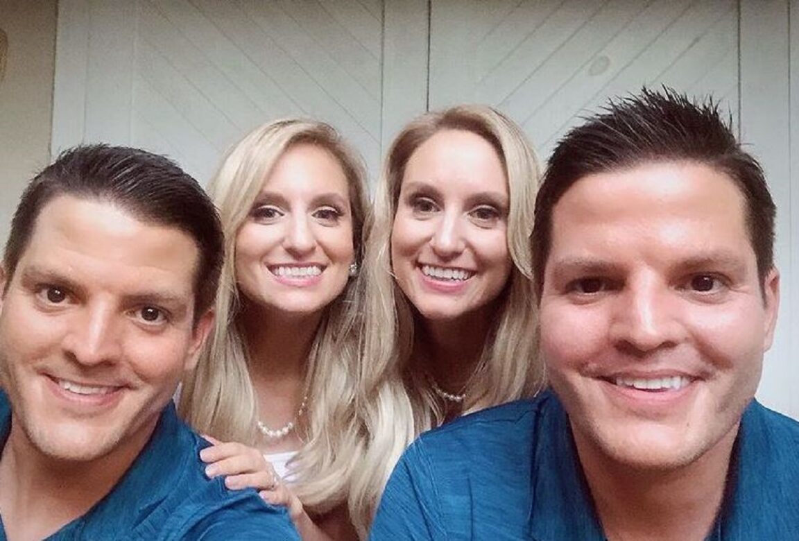 Two identical twin sisters married to identical twins have their first child