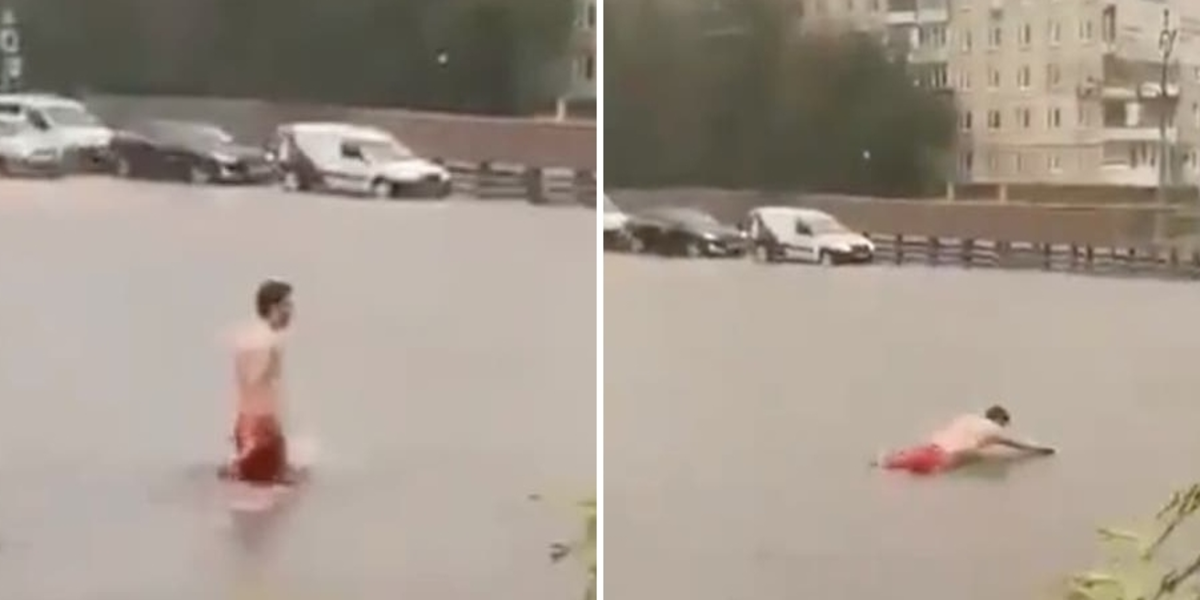 """Man in Moscow swam across the street after a """"superstorm"""""""