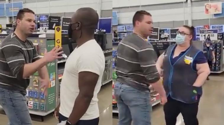 White man harasses black man with karate chops at Texas Walmart
