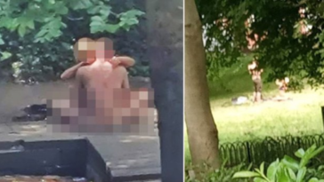 A Manchester couple were arrested after they were spotted having sex