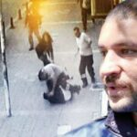 A man beat his wife in broad daylight, while bystanders simply looked on