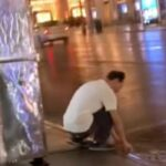 New York City street food cart worker filmed washing a cloth in a puddle