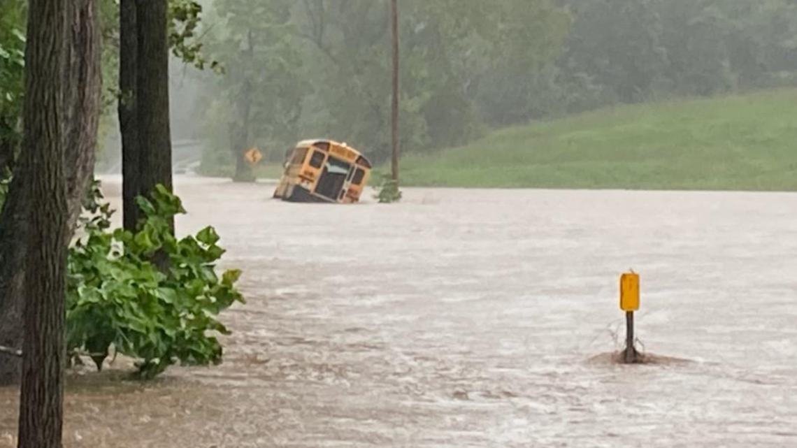 Students rescued from school bus that was submerged due to flooding
