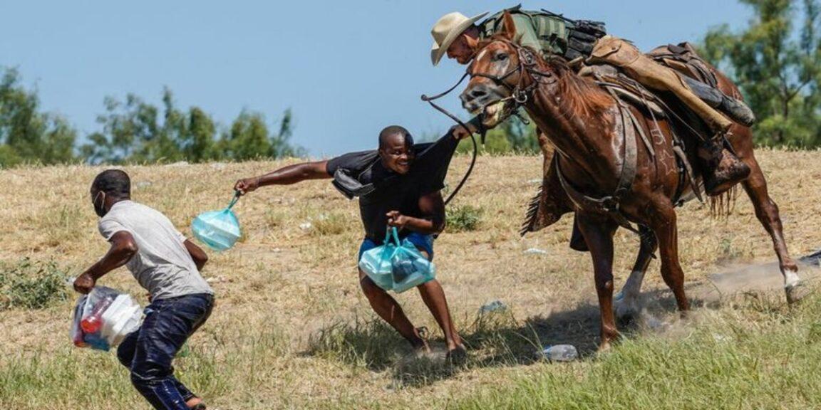 Border police on horseback use the whip on migrants seeking asylum