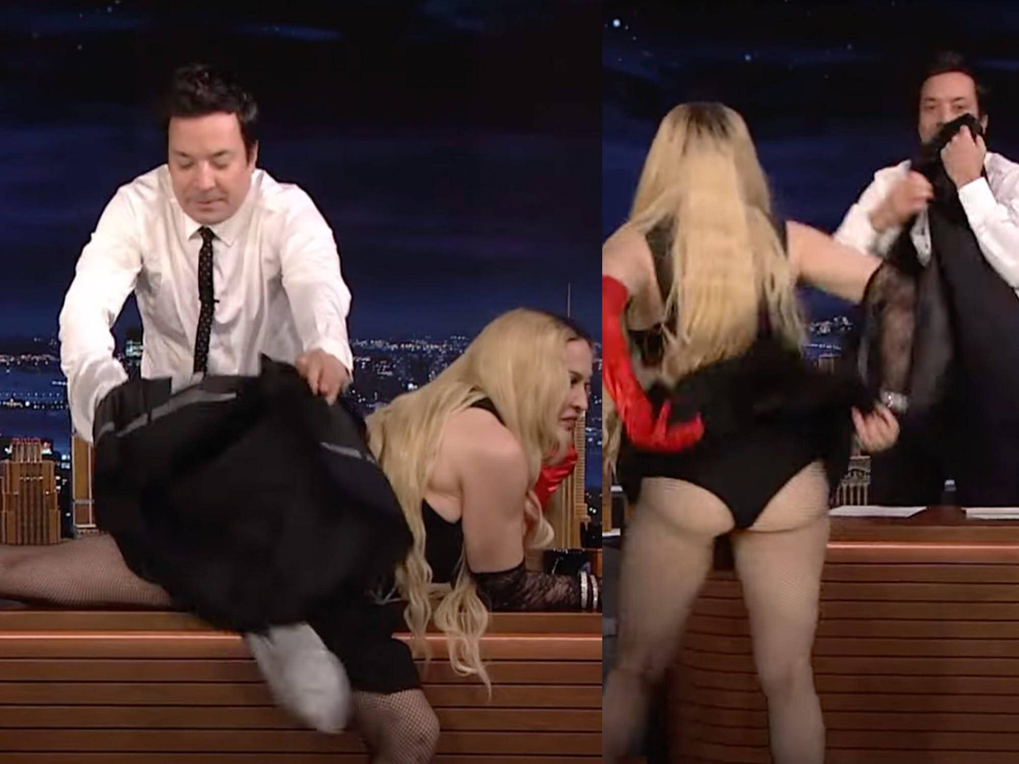 Madonna lifted her skirt on camera and laid down on Jimmy Fallon's table